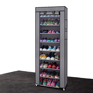 HOBBYN Shoe Rack,10 Tiers Shoe Rack with Dustproof Cover Closet Shoe Storage Cabinet Organizer Gray