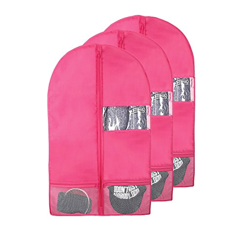 "Kernorv Garment Bags for Dance Costumes, 36"" Foldable Dance Garment Bags with Zipper Pockets and Clear Window for Kid Sizes Clothing, Girls' Dress, Ballet Leotard, Storage or Travel (3 Pack, Pink)"