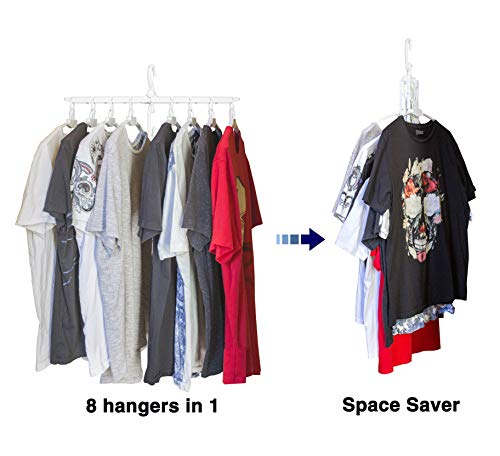 JJMG New Collapsible Innovative Folding Clothes Hanger, Practical, Save Spacer – Magic Wardrobe Organizer, Easy to Use, Durable and Non-Slipping Foldable Hanger