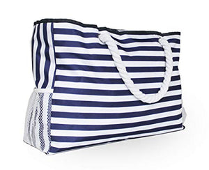 CALMOCASA Beach Bag Sturdy Cotton Rope Handles Outside Pocket Shoulder Tote Phone Case Key Holder Bottle Opener Water Repellent Blue Stripes Zipper Washable Ripstop Cash Tablet Large Towels Cosmetics