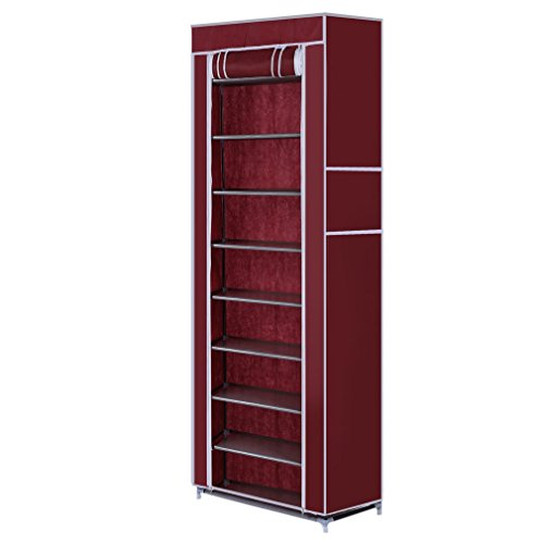lOOkME-H 10 Layer 9 Grids Shoe Rack Hanging Shelves Shoe Storage Closet Organizer with Cover (Wine red)