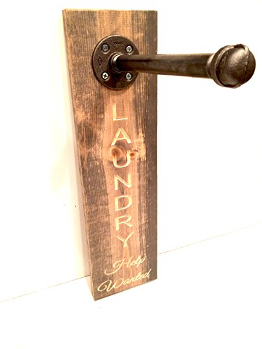 Clothing Rack, Pipe Rack, Rustic Laundry Rack Sign with a touch Industrial Style (Pick Stain) (Weathered Oak)