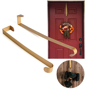 Joy&Leo 2 Pack 14 Inch Gold Metal Door Wreath Hanger for Halloween & Christmas Wreath, Ultra-Thin & Heavy Duty (22 lb Max), Over The Door Utility Hook for Backpack Handbag Clothes Christmas Ornaments