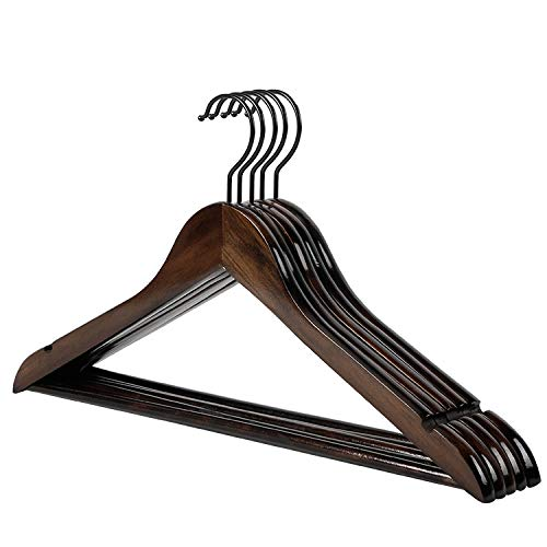 LCYCN hanger Retro Solid Wooden Suit Hangers with Anti-Rust Hooks and Non-Slip Bar-10 Pack,44.51.2cm