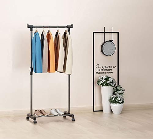 Dporticus Simple Portable Stainless Heavy Duty Single Rod Clothing Hanging Garment Rack with Wheels, Floor Drying Rack Adjustable for Bedroom Balcony