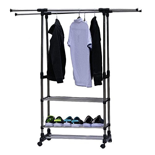 HOBBYN Clothing Garment Rack,Simple Houseware Double Rod Portable Clothing Hanging Garment Rack