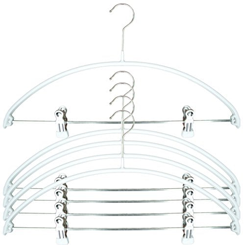 MAWA Reston Lloyd Euro Series Light/Thin Non-Slip Space-Saving 40/PK Clothes Hanger with Bar and Hooks for Pants and Skirts with Clips Set of 5, White, Pack of 5