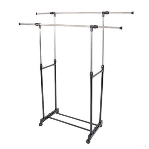 HOBBYN Clothing Rack,Dual-bar Vertical & Horizontal Stretching Stand Clothes Rack with Shoe Shelf YJ-04 Black & Silver