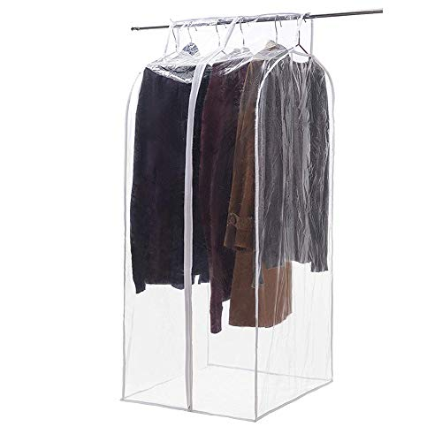 Large Transparent Zippered Garment Wardrobe, Garment Rack Covers,Dustproof Clothing Cover Storage Bag, Closet Organizer Protector with Magic Tape and Full Zipper (HZC71-E)