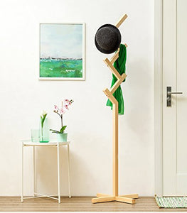 Coat Rack Solid Wood Floor Coat Rack Children's Clothing Rack Living Room Bedroom Simple Modern Hanger Free Standing Coat Rack