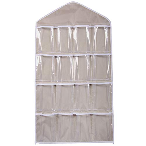 CocoMarket Home-Exclusive 16Pockets Clear Hanging Bag Socks Bra Underwear Rack Hanger Storage Organizer(Beige,One size)