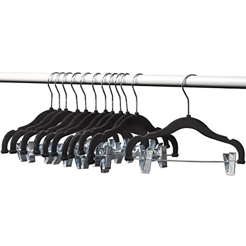 "A1-hangers 12 PACK Kids hangers with clips BLACK (13"" length) baby Clothes Hangers Velvet Hangers use for skirt hangers Clothes Hanger pants hangers Ultra Thin No Slip kids hangers"