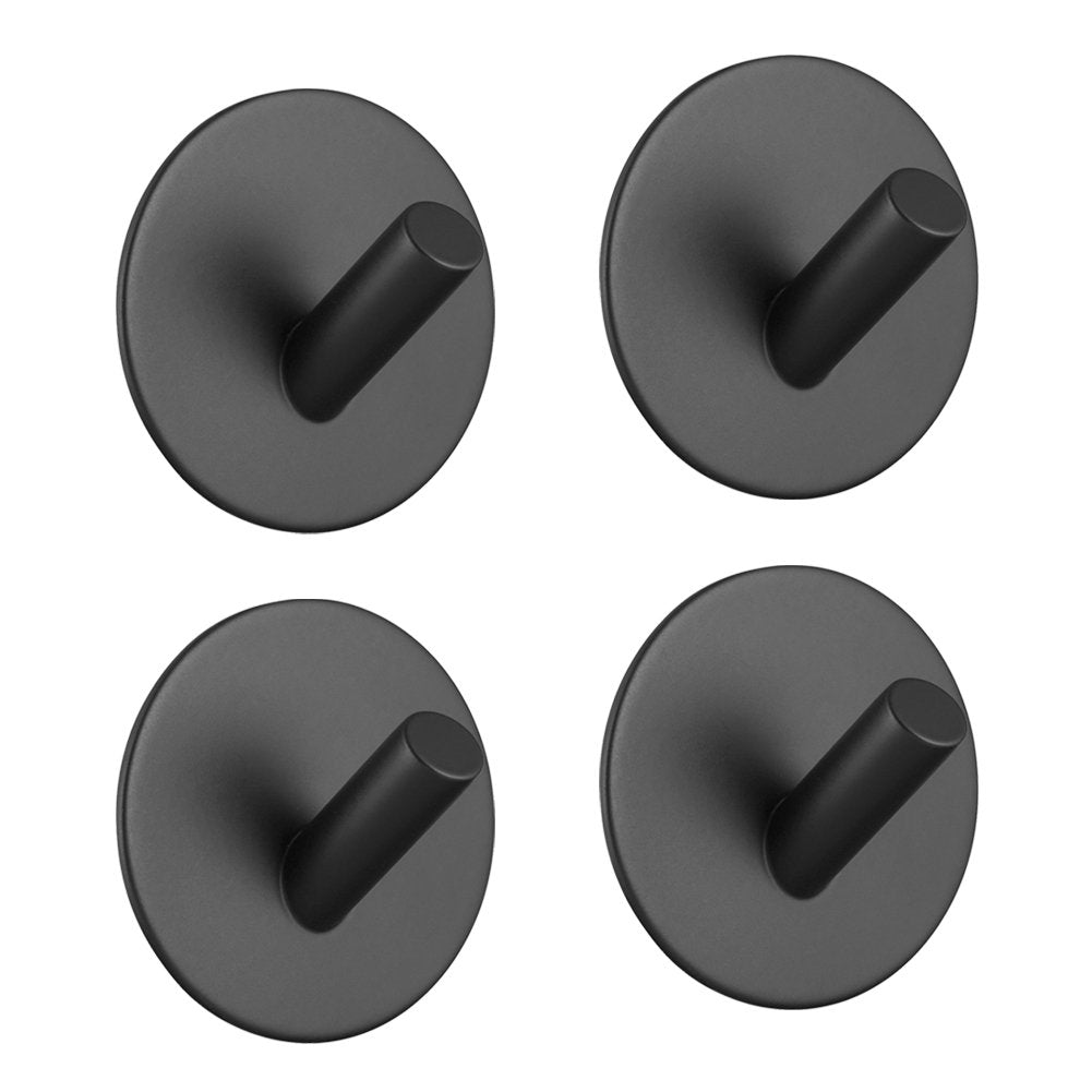 Hgery Adhesive Hooks, Self Adhesive Black Wall Mount Hook for Key Robe Coat Towel, Super Strong Heavy Duty Stainless Steel Hooks, No Drill No Screw, Waterproof, for Kitchen Bathroom Toilet, 4 Pack