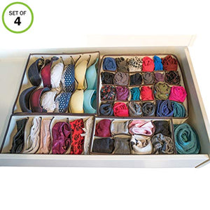 Evelots Underwear Organizer Drawer-Foldable-Socks/Bras/Scarves-45 Sections-Set/4