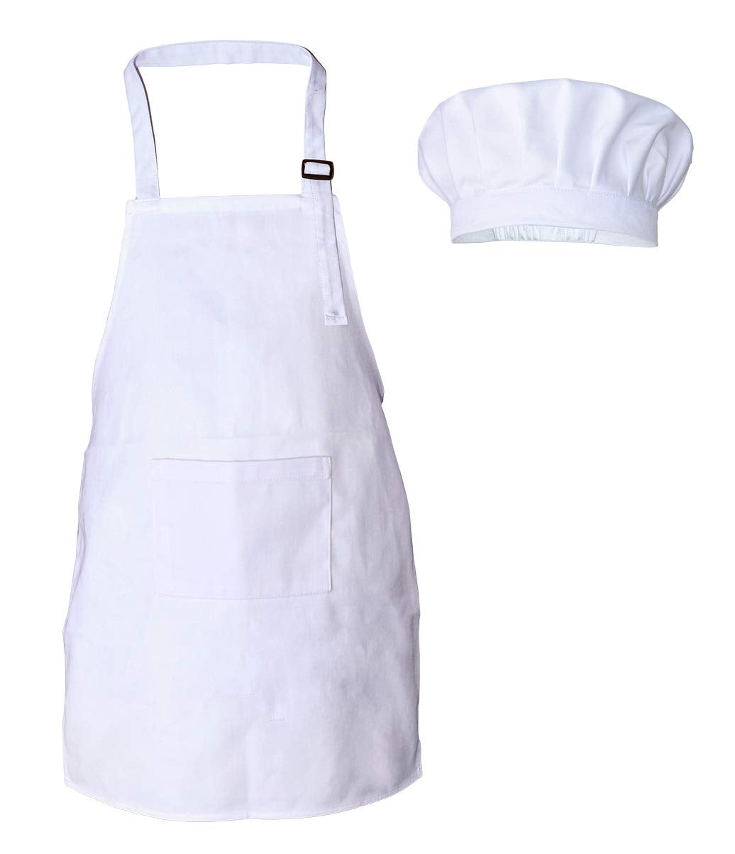 Kids Chef Apron and Hat Set, Cotton Material Child Chef Costume, Perfect for Under the Age of 10 Children Cooking, Baking, Painting (White)