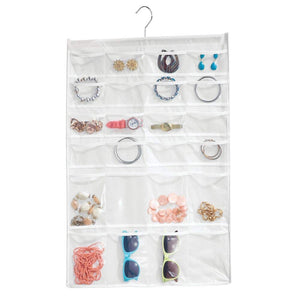 mDesign 48 Pocket Hanging Jewelry Organizer Storage Bag with Over Closet Rod Hanging Hook - Easy-View Clear Pockets with Fabric Backing and Trim, Reinforced Top, Double Sided - White/Clear