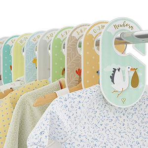Baby Closet Dividers - 18 Wardrobe Organisers/Hangers - Arrange Clothes by Garment Type or Age - Best Baby Shower Gift Set for Boys and Girls - Woodland/Safari/Farm Animal Theme - Cozy Hedgehog