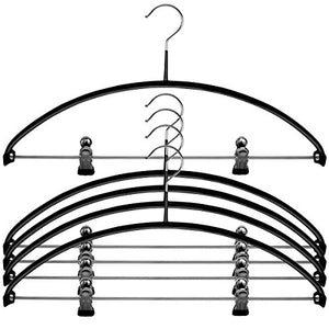 MAWA Reston Lloyd Euro Series Light/Thin Non-Slip Space-Saving 40/PK Clothes Hanger with Bar and Hooks for Pants and Skirts with Clips, Set of 5, Black, Pack of 5,