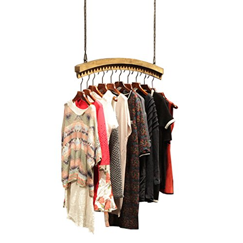 LAXF-Coat Racks LAXF-Wall Coat Racks with Hooks/Vintage Wall Wooden Ceiling Display Stand Clothes Rack Hanger for Men's Clothing Shop and Women's Clothing Store (Color : #1, Size : 120cm)