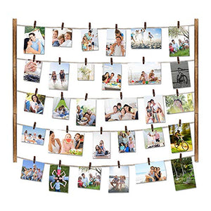 Love-KANKEI Wood Picture Photo Frame for Wall Decor 26×29 inch with 30 Clips and Ajustable Twines Collage Artworks Prints Multi Pictures Organizer and Hanging Display Frames Carbonized Black