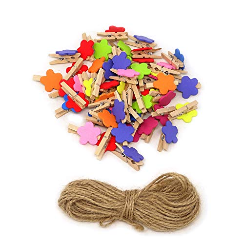 YUETON 50 Pieces 30mm Wooden Clips Mini Colored Natural Wooden Clothespins Photo Paper Peg Pin Craft Clips with 32 Feet Jute Twine