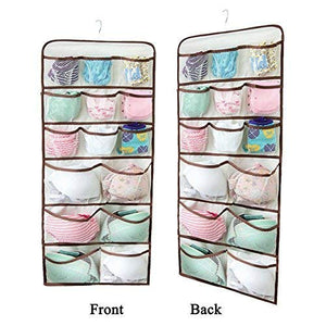 Double Sided 30 Pockets Hanging Underwear Organizer for Underwear, Stocking, Toiletries Accessories, Bra, Sock, Mesh Pockets & Rotating Metal Hanger