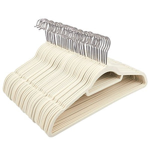 Juvale Ivory Velvet Hangers - Ultra-Thin, Velvet, No Slip, Clothes Hangers for Pants, Blouses, Dresses - 50 Count