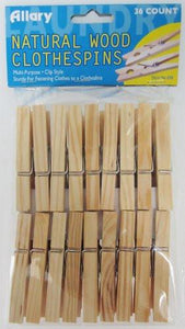 Allary Natural Wood Clothes Pins, 36 Count