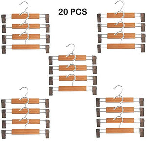 A_BAD Great 20Pcs Wooden Hangers for Pants and Skirts