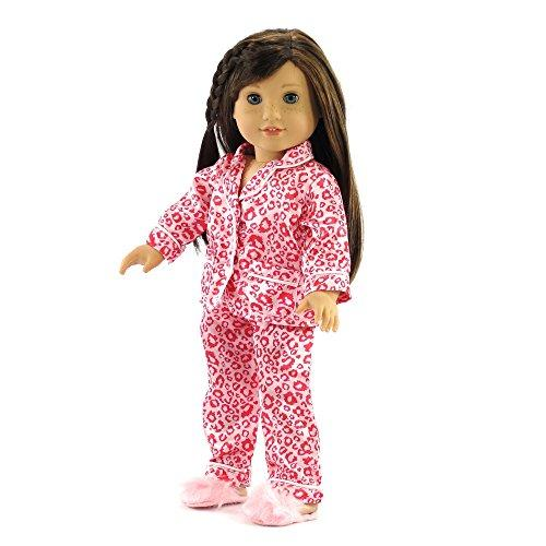 18 Inch Doll Clothes Pink Leopard Pajamas | Fits 18 American Girl Dolls | Includes Slippers. Gift-Boxed!