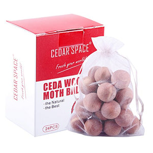 Cedar Balls Blocks Cedar Sachets Bags Hang Ups Cedar Packs for Closet Storage, 100% Nature Aromatic Red Ceder Blocks (Cedar Balls 24 Pcs)