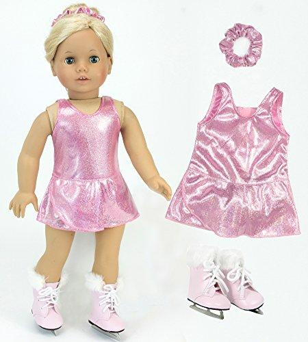 18 Inch Doll Clothes Pink Ice Skating Outfit 3-piece Set Fits 18 Inch American Girl Doll & More! Sophia's Three Piece Set with Pink Sparkle Skating Dress, Scrunchie & Pink Fur Trimmed Doll Ice Skates