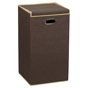Household Essentials 5612 Collapsible Single Laundry Hamper with Magnetic Lid, Brown Coffee