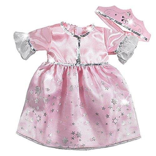 15 Inch Baby Doll Princess Costume Set by Sophia's, Fits American Girl Bitty Baby Dolls & More! 15 Inch Doll Clothes Pink Princess Dress and Crown