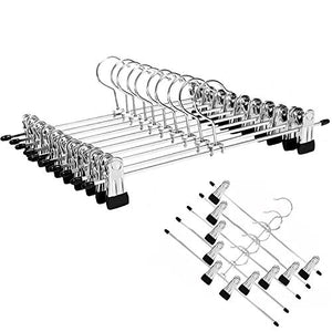 YCLOVE 12 PACK Pant Hangers with Clips Clothes Trousers Jean Skirt Slacks Hangers Boot Clips W/2 360° Swivel Adujstable Clips Non-Slip Stainless Iron Anti-Rust YCG04S