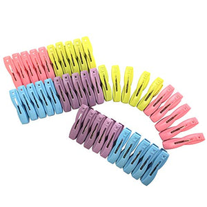 Shiaon Sturdy Clothespin 40-Pack Colored Plastic Clothes Clips for Laundry Outdoor Kitchen and Photo Paper Craft - Windproof Anti-Slip Clothing Line Pegs with Springs - Air-Drying Clothing Pin Set