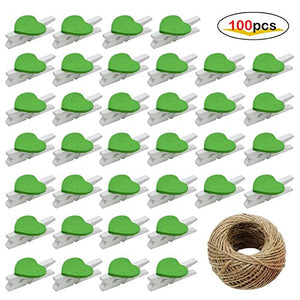 AIKE Mini Nature Wooden Photo Clips Clothespins Photo Paper Peg Red Heart DIY Craft Clips with 10m Jute Twine (Green Heart-100Pack)