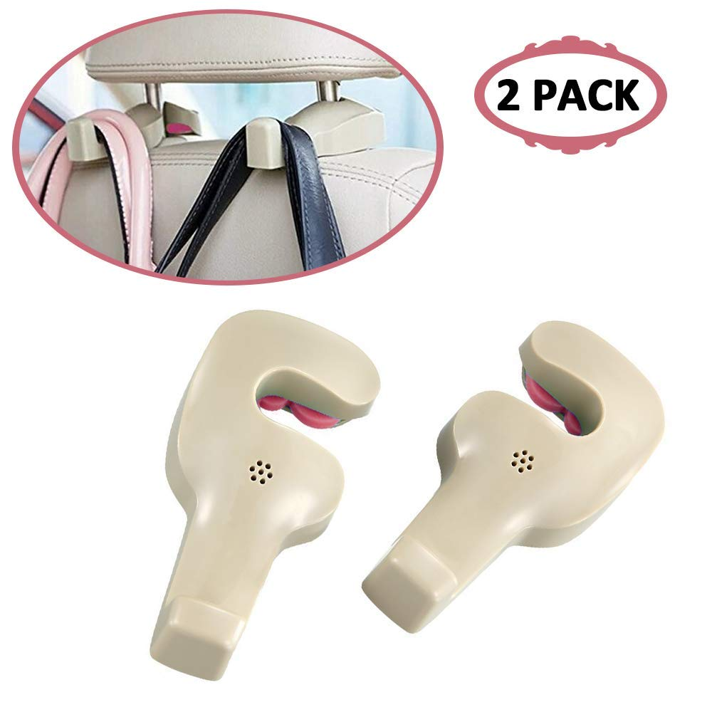 Car Vehicle Back Seat Hidden Hook,Universal Car Vehicle Back Seat Headrest Hanger Holder Hook for Shopping Bag Purse Cloth Coat Grocery Handbags Grocery Bag (Brown 2 Pack)