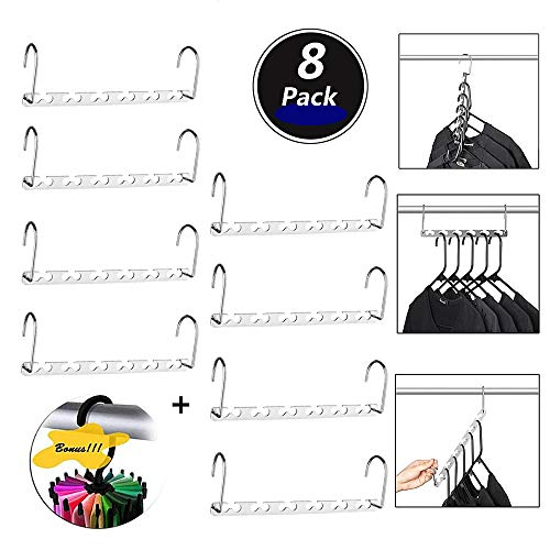 HUSTON LOWELL Space Saving Hangers Wonder Metal Clothes Hangers Stainless Steel 6X2 Slots Magic Hanger Cascading Hanger Updated Hook Design Closet Organizer Hanger+Rotating Ties Scarf Hanger