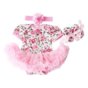Baby Girls 3 Piece Sets Romper Dress Shoes and Headband Rose Flower Outfits Clothes Pink M:6-9Months