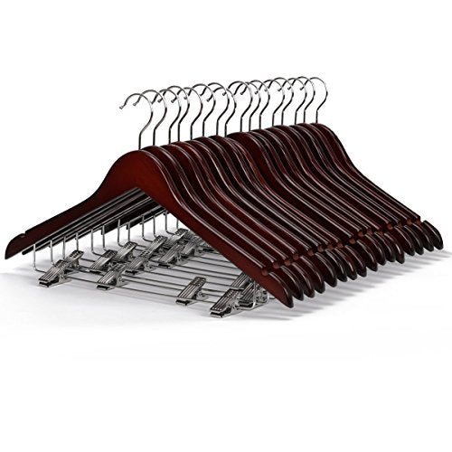 LOHAS Home Solid Walnut Finish Wooden Suit Hangers with Anti-Rust Pant Clips, Pack of 10