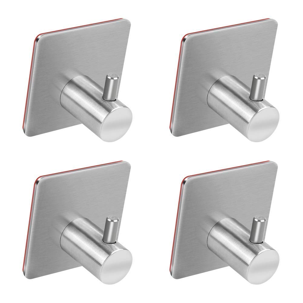 Adhesive Hooks, Trotinic Heavy Duty Wall Hooks Stainless Steel Strong Sticky wall Hanger for Hanging Keys, Robe, Coat, Towel, Bags, Hats, Bathroom Kitchen Organizer-4 Pack