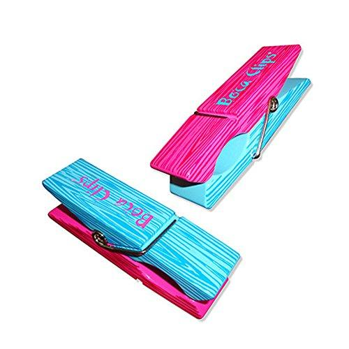 Clothes Pin Boca Clips, Pink & Blue
