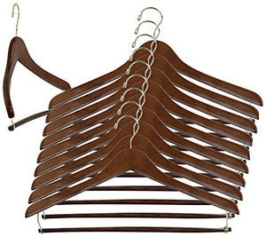Iconikal 17-Inch Contoured Wood Suit Hanger with Pant Bar, Walnut, 10-Pack