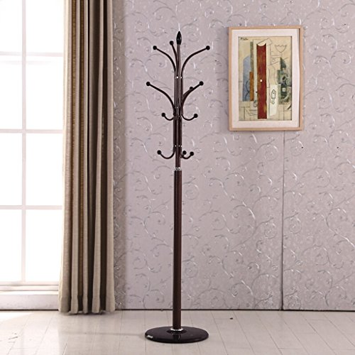 COAT RACK Wrought Iron Bedroom Living Room Clothes Rack Floor Hangers Creative Modern Minimalist Hanger (45 175CM) (Color : Brown)
