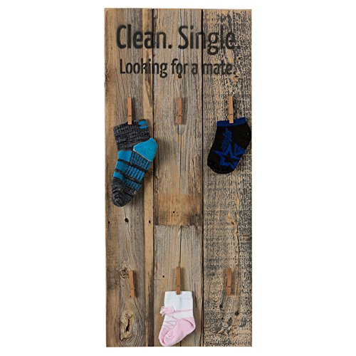 Drakestone Designs Missing Socks Organizer Decorative Sign | Handmade Rustic Reclaimed Wood | Wall Mount | 24 x 10.5 Inch - Natural