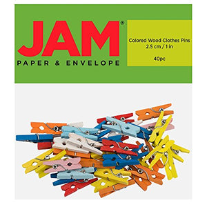 JAM PAPER Wood Clip Clothespins - Small - 1 Inch - Assorted - 40 Clothes Pins/Pack