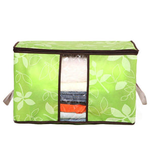 Clearance Storage Bins,WM&MW Foldable Bag Flower Clothes Blanket Closet Zipper Organizer Box (Green)