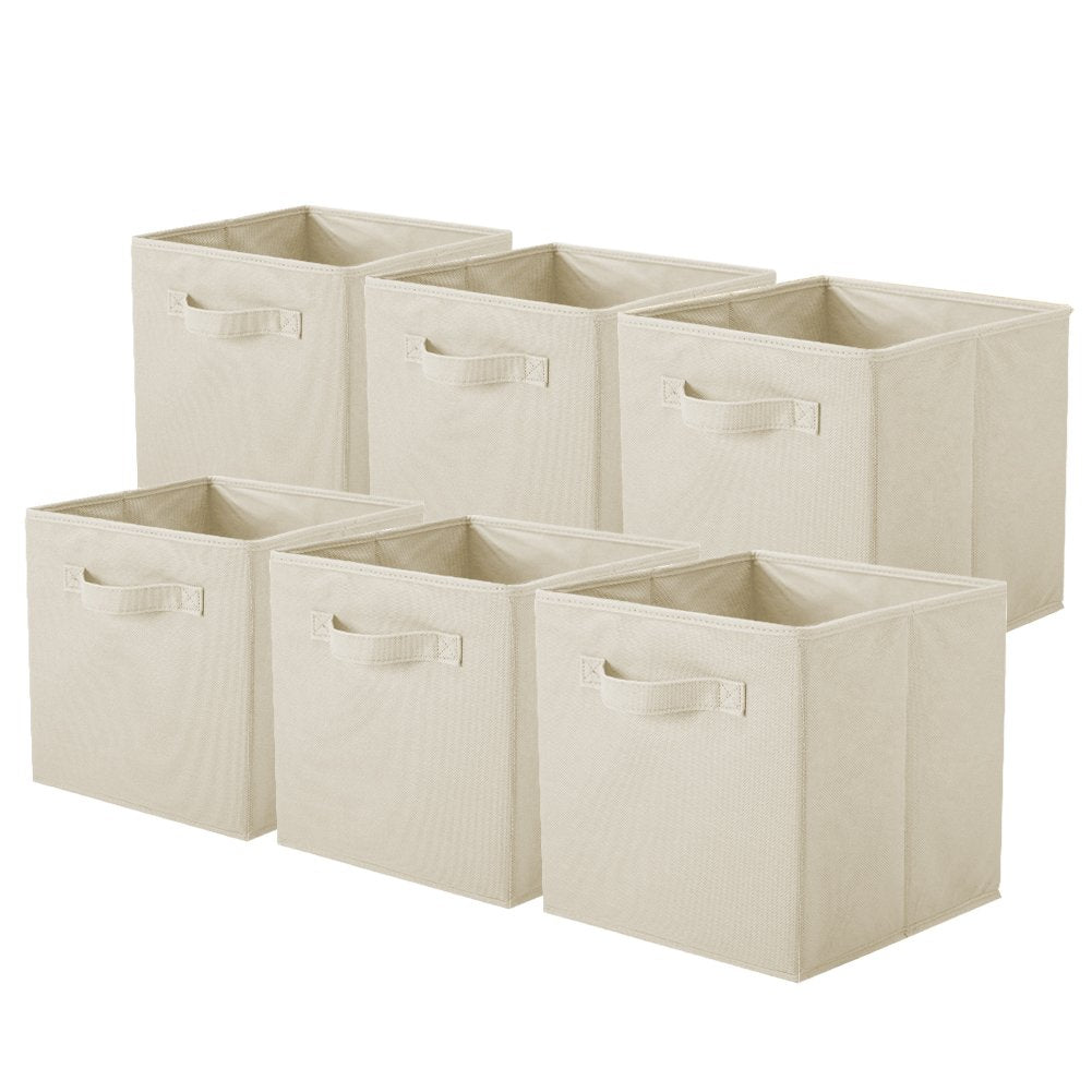 ShellKingdom Storage Bins, Foldable Fabric Storage Cubes and Cloth Storage Organizer Drawer for Closet and Toys Storage,6 Pack(Beige)