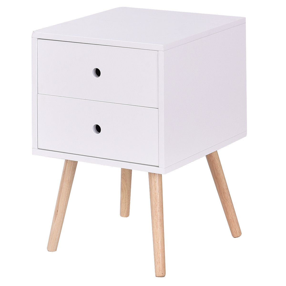 Giantex Side End Table W/2 Drawers Mid-Century Accent for Bedroom Living Storage Home Furniture Nightstand (1)